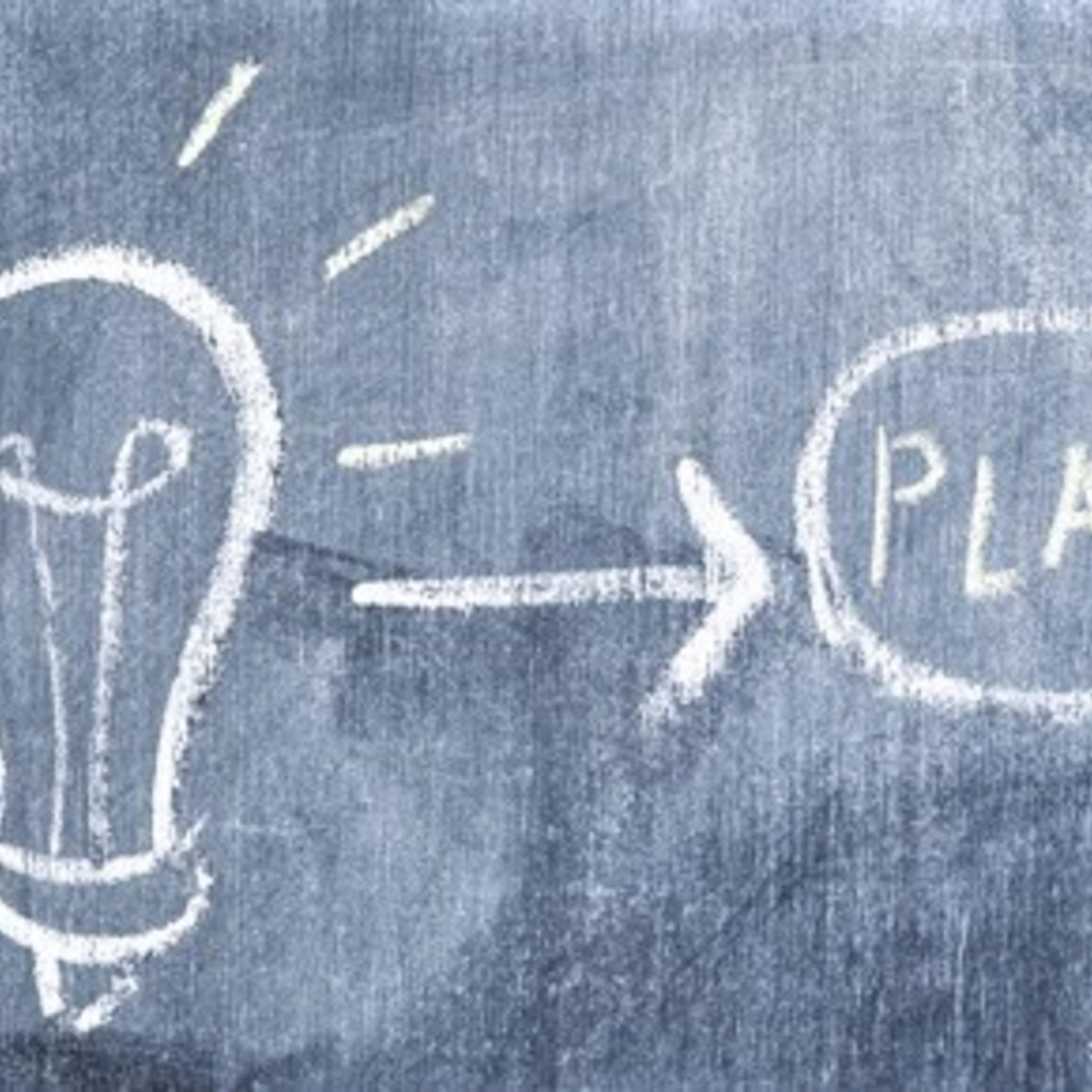 Light Bulb Arrow Pointing Toward Plan Drawn Chalkboard 23 2147873885